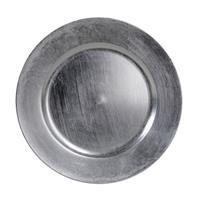 1x Ronde kaarsenborden/onderborden zilver glimmend 33 cm -