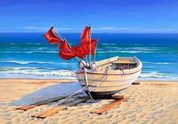 Sigurd Schneider - Small fishing boat Kunstdruk 80x60cm