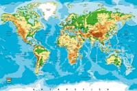 World Map Vlies Fotobehang 375x250cm 5-banen