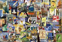 Vintage Travel Poster Vlies Fotobehang 384x260cm 8-banen