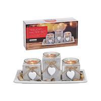 Houten kaarsen plateau grijs met hartjes hangers 28 x 13 x 10 cm -