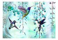 Artgeist Flying Hummingbirds Green Vlies Fotobehang 350x245cm