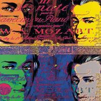 Günter Edlinger - Mozart 1 Kunstdruk 80x80cm