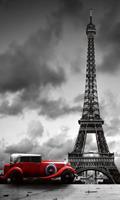 Retro Car in Paris Vlies Fotobehang 150x250cm 2-banen