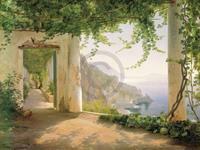 Carl Frederic Aagaard - Amalfi Cappuccini Kunstdruk 101x76cm