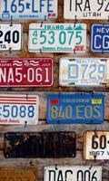 Plate Numbers Vlies Fotobehang 150x250cm 2-banen