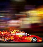 Speeding Car Vlies Fotobehang 225x250cm 3-banen