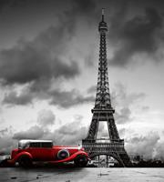 Retro Car in Paris Vlies Fotobehang 225x250cm 3-banen